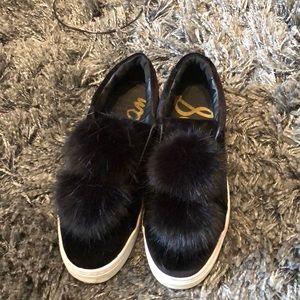 Sam Edelman black velvet Pom Pom sneakers
